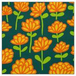 Orange Flower Pattern 240515 - on Dk Green 004840 Fabric