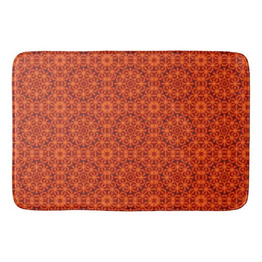 Orange Flower Pattern Bathroom Mat