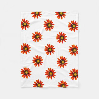 Orange Flower Pattern Fleece Blanket