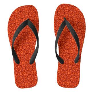 Orange Flower Pattern Flip Flops