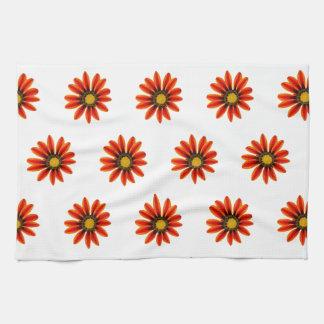 Orange Flower Pattern Kitchen Towel