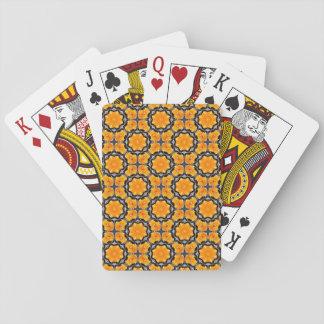Orange Flower Pattern Poker Deck