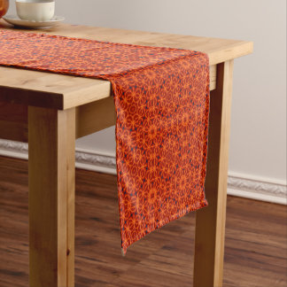 Orange Flower Pattern Short Table Runner