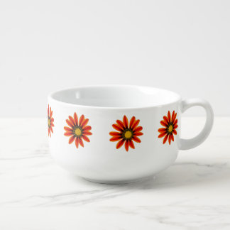 Orange Flower Pattern Soup Mug