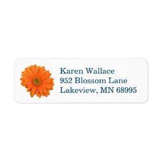 Orange Flower return address label