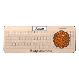Orange Flower Ribbon by Kenneth Yoncich Wireless Keyboard