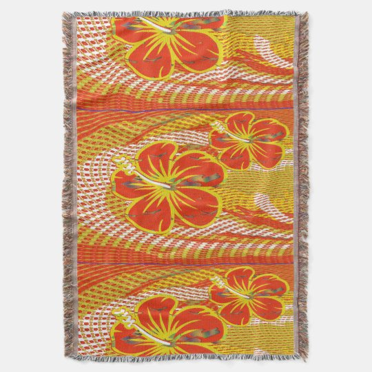 Orange Flower Throw Blanket
