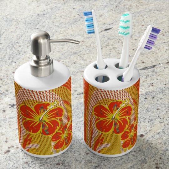 Orange Flower Toothbrush Holder,Dispenser Bath Set