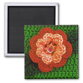 Orange Flower with Green Leaf Crochet Print on Magnet