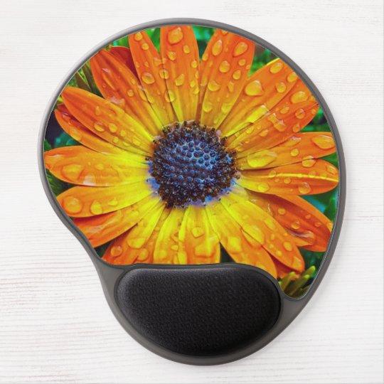 Orange Flower With Rain Drops Gel Mouse Pad