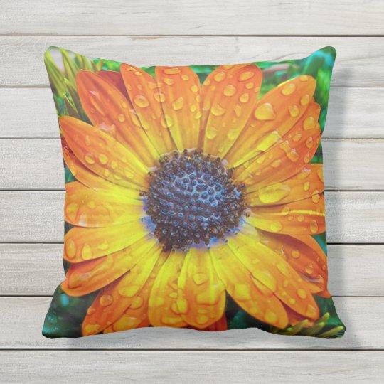 Orange Flower With Rain Drops Outdoor Pillow