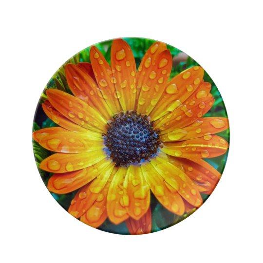 Orange Flower With Rain Drops Plate