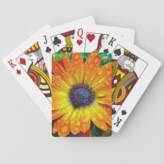Orange Flower With Rain Drops Playing Cards