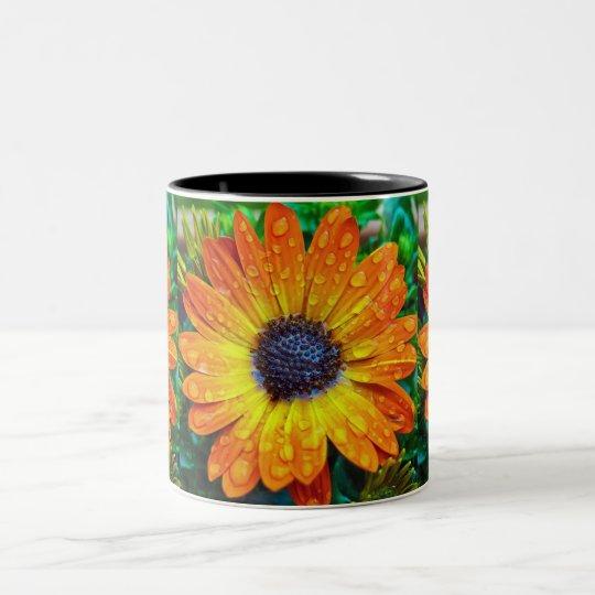 Orange Flower With Rain Drops Two-Tone Coffee Mug