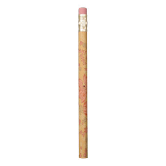 Orange Flowered Customizable Pencil