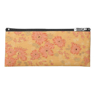 Orange Flowered Pencil Case