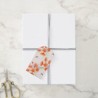 Orange flowering gum watercolor art gift tag