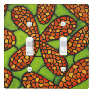 Orange Flowers Green Grass Light Switch Cover
