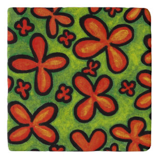 Orange Flowers Green Grass Trivet