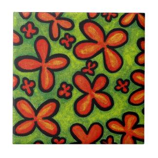 Orange Flowers in Green Grass Ceramic Tile