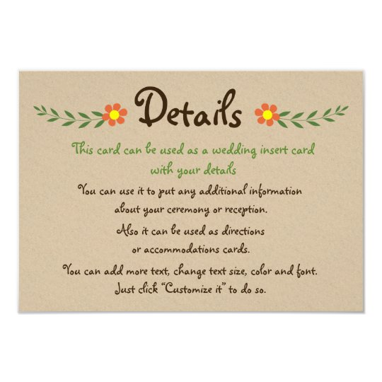 Orange flowers kraft wedding details insert card