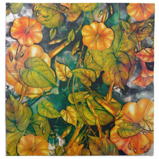 orange flowers napkin