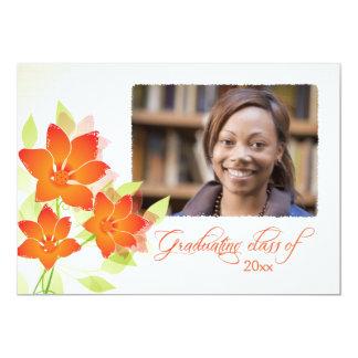 Orange flowers photo graduation party announcement