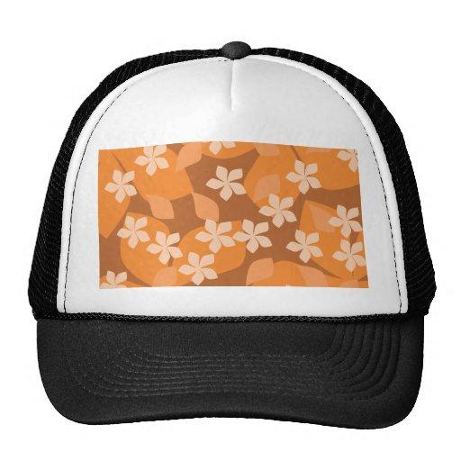 Orange Flowers. Retro Floral Pattern. Trucker Hats