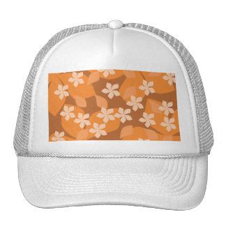 Orange Flowers Retro Floral Pattern Mesh Hats