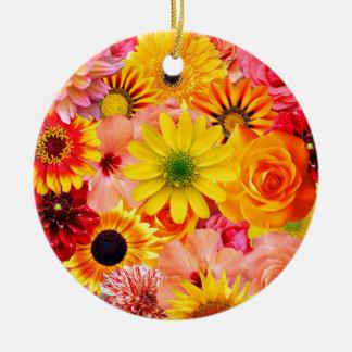 Orange flowers_ Sanchez Glory Ceramic Ornament
