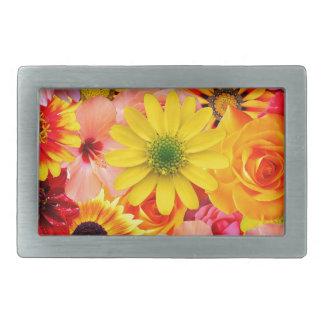 Orange flowers_ Sanchez Glory Rectangular Belt Buckle
