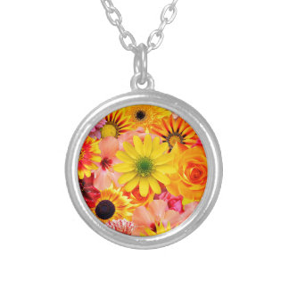 Orange flowers_ Sanchez Glory Silver Plated Necklace