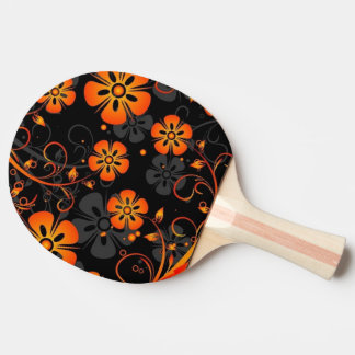 orange flowers vector art swirl ping pong paddle
