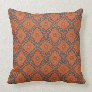 """Orange flowers"" vintage floral arabesque pattern Throw Pillow"