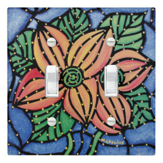 Orange Flowers With Blue & Green Light Switch Cover