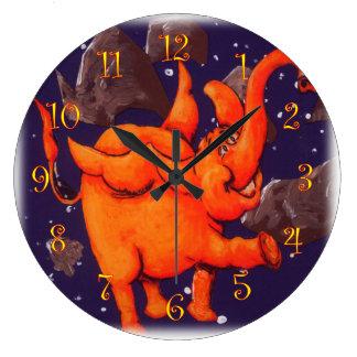 Orange Flying Elephant Large Clock