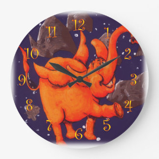 Orange Flying Elephant Wall Clock