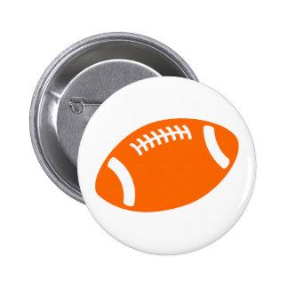 Orange Football 2 Inch Round Button