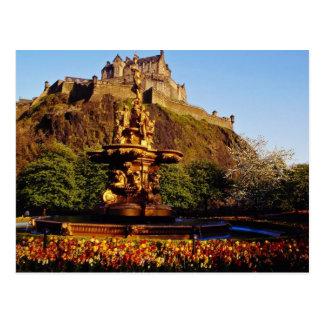 Orange Fountain and tulips, Edinburgh Castle, Scot Postcard