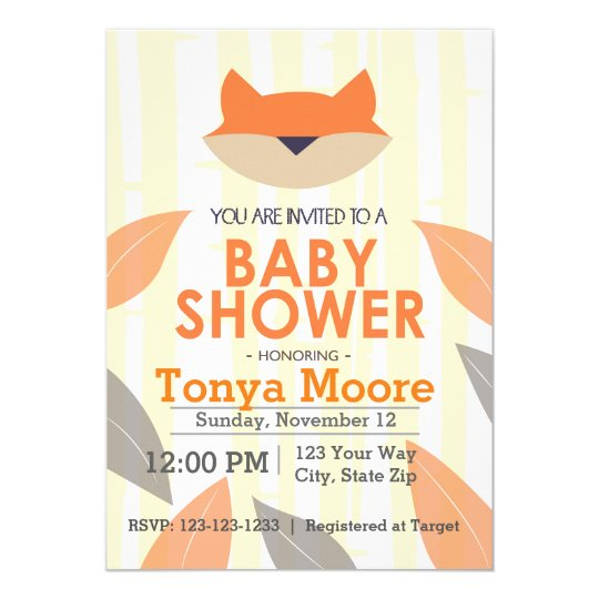 Orange Fox Baby Shower Invitation