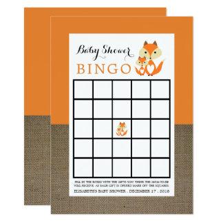 Orange Fox Burlap Baby Shower Bingo Card