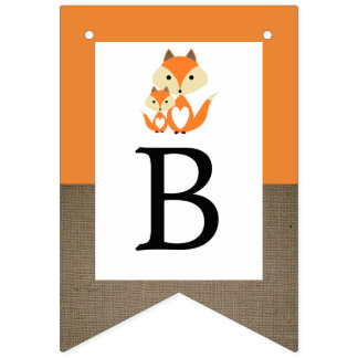 Orange Fox Burlap Baby Shower Bunting Flags
