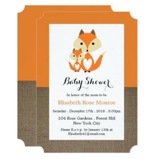 Orange Fox Burlap Baby Shower Card