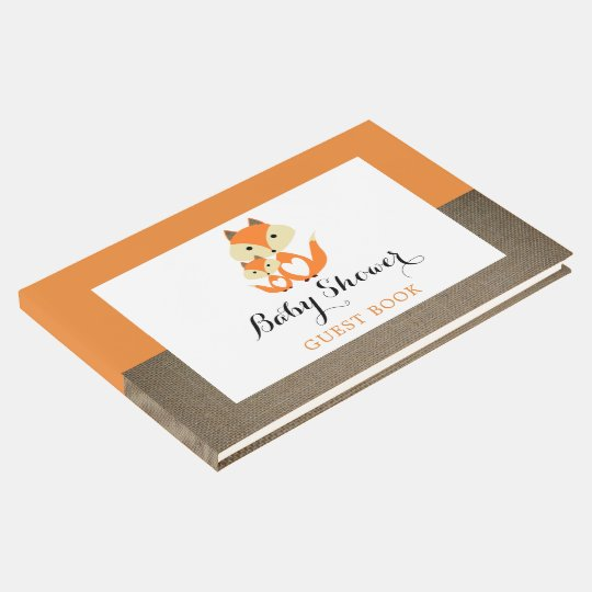 Orange Fox Burlap Baby Shower Guest Book