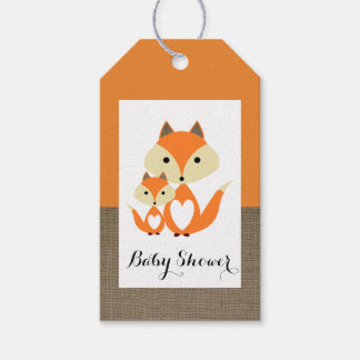 Orange Fox Burlap Baby Shower Pack Of Gift Tags