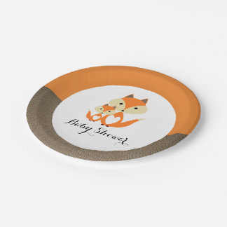 Orange Fox Burlap Baby Shower Paper Plate