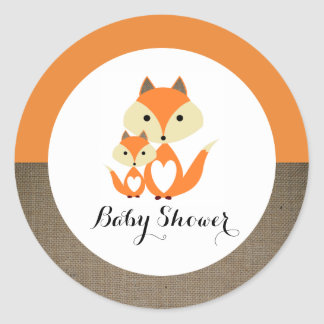 Orange Fox Burlap Baby Shower Round Sticker