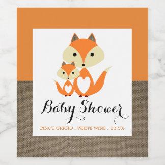 Orange Fox Burlap Baby Shower Wine Label