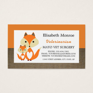 Orange Fox Burlap, Veterinarian, Veterinary Business Card