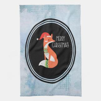 Orange Fox in Red Santa Hat Merry Christmas Kitchen Towel